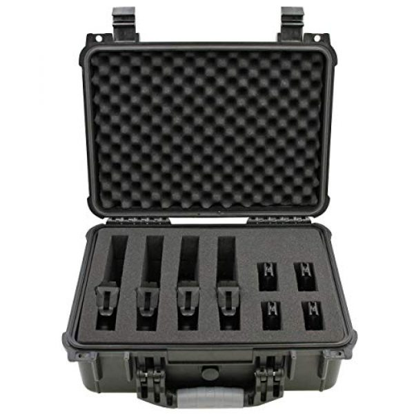 """CASEMATIX Airsoft Gun Case 1 CASEMATIX 16"""" 4 Pistol Multiple Pistol Case - Waterproof & Shockproof Hard Gun Cases for Pistols, Magazines and Accessories - Multi Gun Case for Pistols with Two Layers of 2"""" Thick Customizable Foam"""
