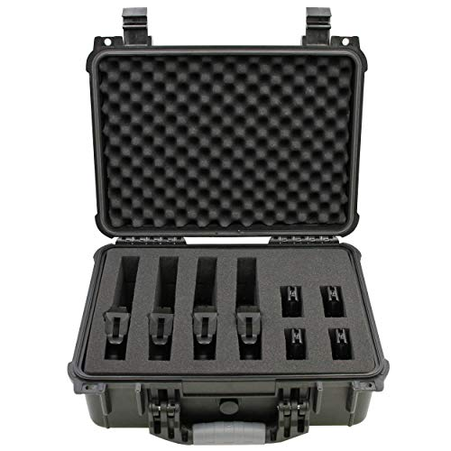"CASEMATIX Airsoft Gun Case 1 CASEMATIX 16"" 4 Pistol Multiple Pistol Case - Waterproof & Shockproof Hard Gun Cases for Pistols"
