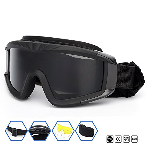SPOSUNE Airsoft Goggle 1 Outdoor Sports Military Airsoft Tactical Goggles with 3 Interchangable Lens Impact resistance Hunting Eyewear
