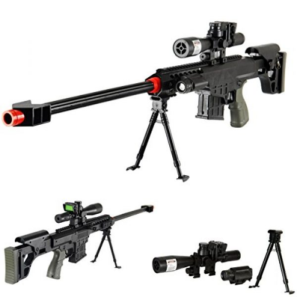 """UKARMS Airsoft Rifle 1 UKARMS 36"""" Elite Airsoft Sniper Rifle 315FPS with Laser, Light, Bipod, and Dummy Scope - #1 Seller -"""