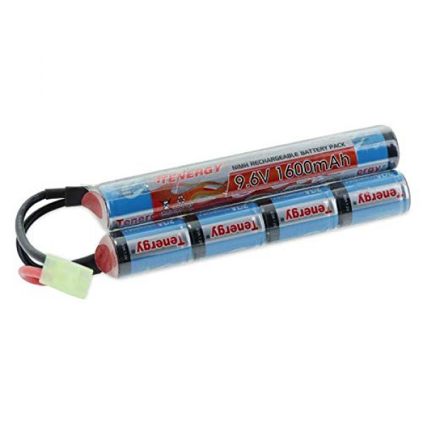 Tenergy Airsoft Battery 1 Tenergy 9.6V Airsoft Battery 1600mAh NiMH Nunchuck Battery w/Mini Tamiya Connector for Airsoft Guns M4