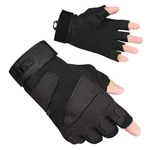 Military Ba Airsoft Glove 1 Military Ba Men's Black Special Ops 1/2 Finger Light Assault Gloves Tactical Fingerless Half Finger Gloves-M Black