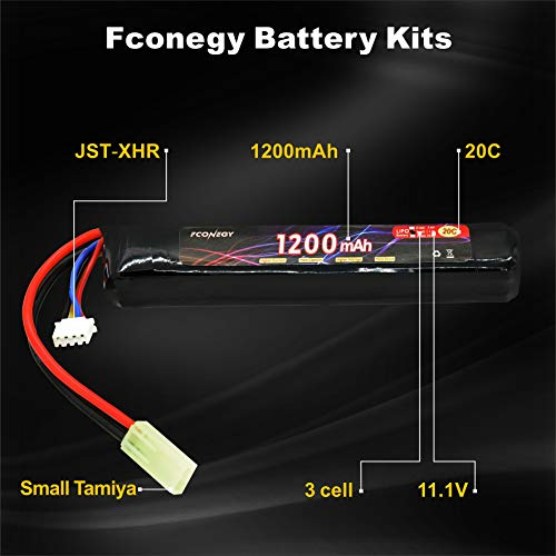 FCONEGY Airsoft Battery 2 FCONEGY 3S 11.1V 1200mAh 20C Lipo Battery Pack with Small Tamiya Plug for Airsoft Gun/Rifle