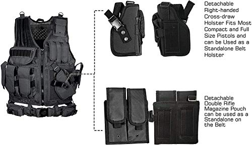YoMont  5 YoMont Tactical Vest Outdoor Molle Vest Military for Man Women Youth Trainning Tactical Airsoft Combat Vest 600D Encryption Polyester-Military Vest-Adjustable Lightweight
