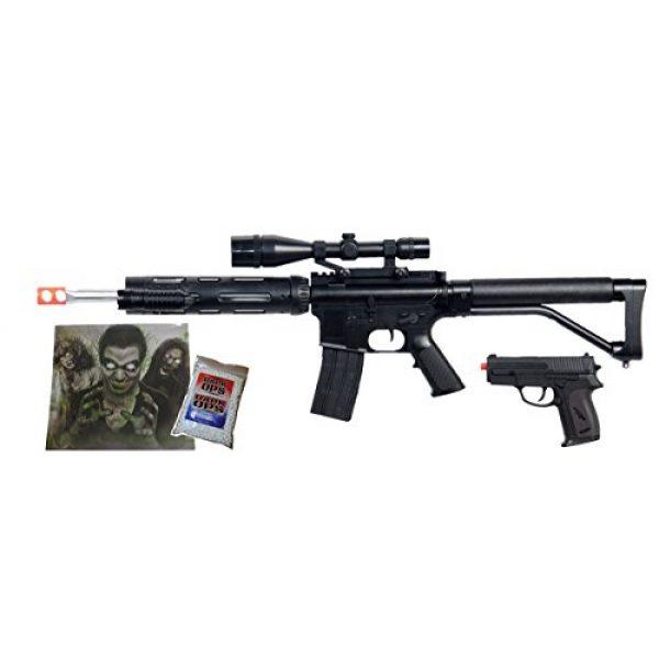 UKARMS Airsoft Rifle 1 UKARMS Spring M4 M16 Airsoft Rifle w/Scope, Flashlight, Bonus Pistol, 1000 BBS & Target