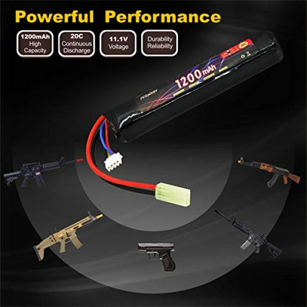 FCONEGY Airsoft Battery 5 FCONEGY 3S 11.1V 1200mAh 20C Lipo Battery Pack with Small Tamiya Plug for Airsoft Gun/Rifle