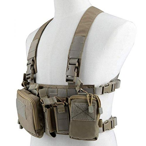 Hunting Explorer Airsoft Tactical Vest 1 Tactical Chest Vest Military Airsoft Vest with Multi-Pockets Molle Adjustable Breathable Combat Training Vest for Outdoor Hunting, Fishing, Army Fans, CS War Game, Survival Game, Combat Training