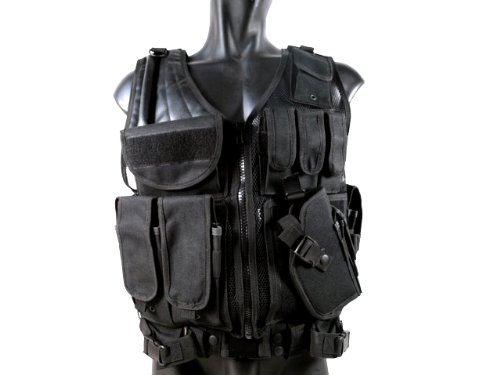 MetalTac Airsoft Tactical Vest 1 MetalTac Airsoft Cross Draw Tactical Vest with 9 Pockets and Pistol Holster