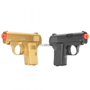BBTac Airsoft Pistol 1 BBTac Gold and Black Dual 618 Airsoft Sub-Compact Pocket Pistols 110 FPS Spring Concealable Gun with Storage Case