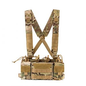 OneTigris Airsoft Tactical Vest 1 OneTigris Tactical Chest Rig with 5.56/7.62 Rifle Mag Pouches Pistol Mag Pouches and X Harness for Airsoft Shooting Wargame Paintball