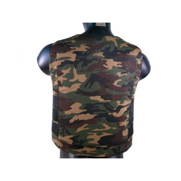 BBTac Airsoft Tactical Vest 4 BBTac Airsoft Protection Vest, Padded Cushion (Woodland Camo)