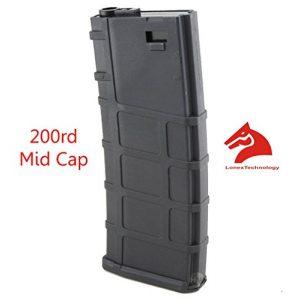 LONEX Airsoft Gun Magazine 1 Lonex Airsoft M Series Scar Plastic Black PMAG Magazine 200 RDS ASG MID Cap