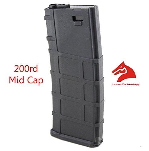 LONEX  1 Lonex Airsoft M Series Scar Plastic Black PMAG Magazine 200 RDS ASG MID Cap