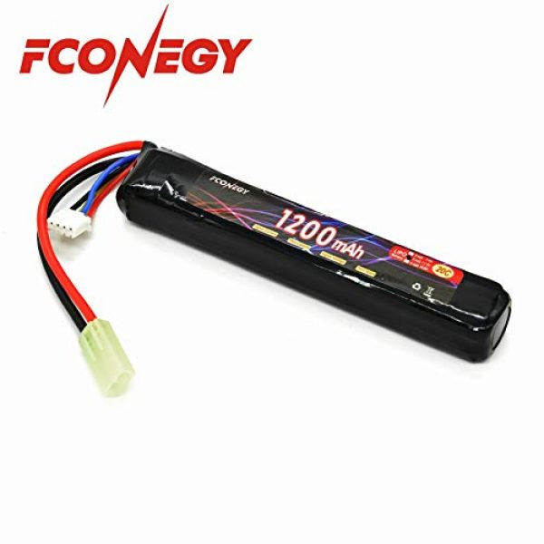 FCONEGY Airsoft Battery 1 FCONEGY 3S 11.1V 1200mAh 20C Lipo Battery Pack with Small Tamiya Plug for Airsoft Gun/Rifle