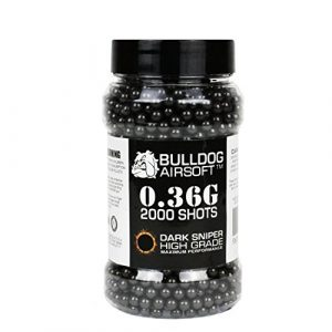 bulldog Airsoft BB 1 Bulldog 0.36g 2000 Dark Sniper Airsoft BB Pellets Black