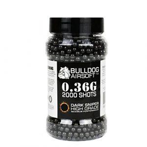 BULLDOG AIRSOFT Airsoft BB 1 Bulldog 0.36g 2000 Dark Sniper Airsoft BB Pellets Black