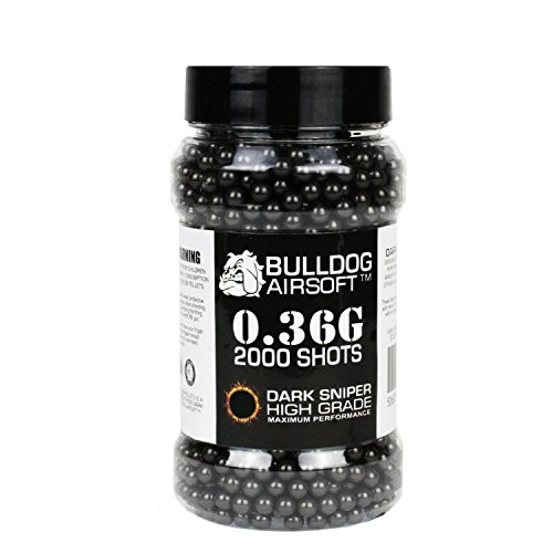 BULLDOG AIRSOFT  1 Bulldog 0.36g 2000 Dark Sniper Airsoft BB Pellets Black