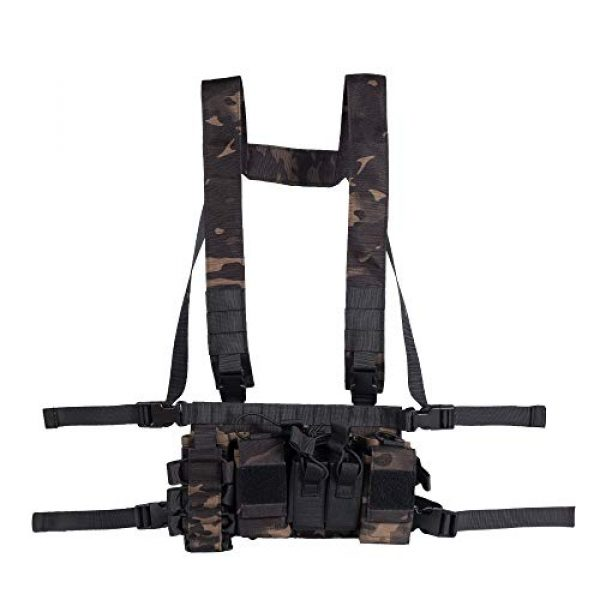 Trdio Airsoft Tactical Vest 7 Trido Chest Rig Tactical Airsoft,Molle Multicum Paintball Rigs Police Pistol Harness Holster Holder Bag Vest for Men Hunting Training