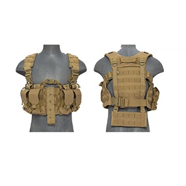 Lancer Tactical Airsoft Tactical Vest 1 AirsoftMega Lancer Tactical Hobby Version 2 Replica Chest Harness MOLLE Rig - TAN