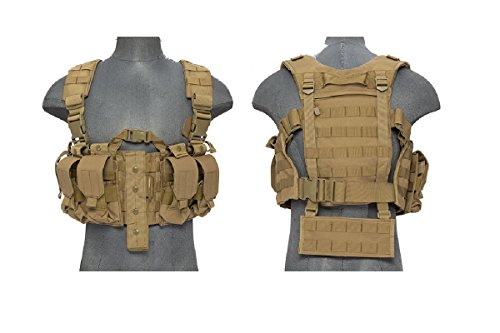Lancer Tactical Airsoft Tactical Vest 1 AirsoftMegastore Lancer Tactical Hobby Version 2 Replica Chest Harness MOLLE Rig - TAN