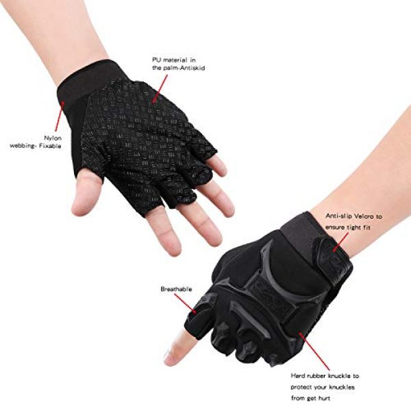 Half Finger Non-Slip Classic Gloves Mountain Bike Bicycle Riding Outdoor Sports Gloves (Black)