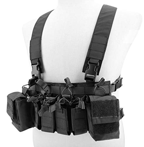 Jadedragon  2 Jadedragon Tactical Chest Vest with Drop Pouch Sub Abdominal Carrying Kit Bag and Multi-Pockets for Airsoft Shooting Wargame Paintball