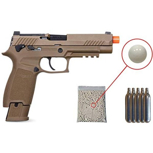 SIG Airsoft Air Pistol 1 Sig Sauer Pro Force M17 Airsoft Pistol with Included 5x12 Gram CO2 Tanks and Pack of 1000 6mm 0.20g BBS Bundle