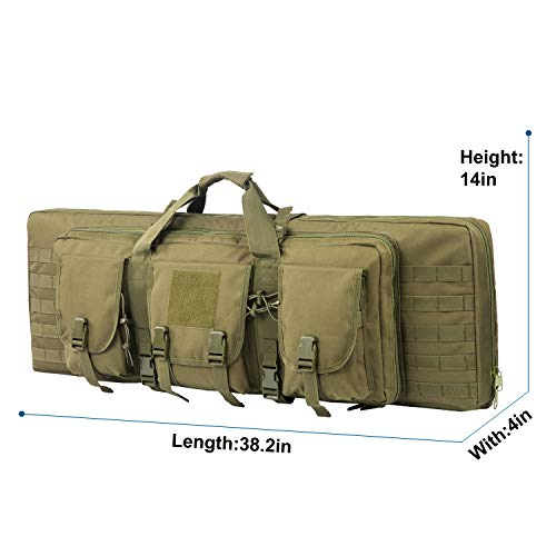 Fox Tactical Airsoft Gun Case 4 Fox Tactical 38 42 Inch Double Long Rifle Gun Case Bag Outdoor Tactical Carbine Cases Water Dust Resistant Fireproof for Hunting Shooting (O.D.Green
