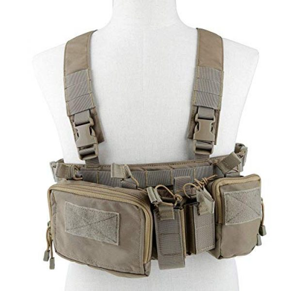 Hunting Explorer Airsoft Tactical Vest 2 Tactical Chest Vest Military Airsoft Vest with Multi-Pockets Molle Adjustable Breathable Combat Training Vest for Outdoor Hunting, Fishing, Army Fans, CS War Game, Survival Game, Combat Training