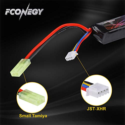 FCONEGY Airsoft Battery 4 FCONEGY 2S/3S 7.4V/11.1V 1200mAh 20C Lipo Battery Pack with Small Tamiya Plug for Airsoft Gun/Rifle
