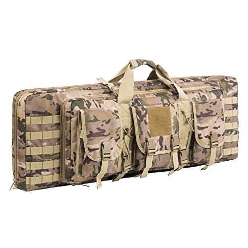Fox Tactical  1 Fox Tactical 38 42 Inch Double Long Rifle Gun Case Bag Outdoor Tactical Carbine Cases Water Dust Resistant Fireproof for Hunting Shooting (Multicam