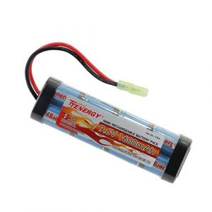 Tenergy Airsoft Battery 1 Tenergy 9.6V Airsoft Battery High Capacity 1600mAh NiMH Flat Battery Pack with Mini Tamiya Connector for Airsoft Guns MP5