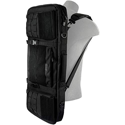 "Lancer Tactical Airsoft Gun Case 4 Lancer Tactical 1000D Nylon 3-Way Carry 29"" Double Rifle Gun Bag Black Firearm Backpack Pistol Handgun Case"