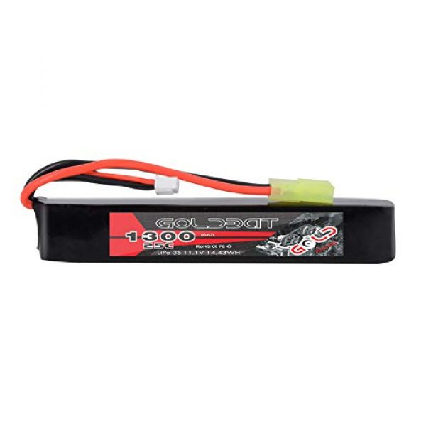 GOLDBAT Airsoft Battery 1 GOLDBAT 1300mAh 3S 11.1V 25C LiPo Battery Short Stick Battery Pack with Mini Tamiya Connector for Airsoft