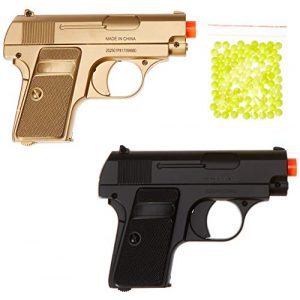 BBTac Airsoft Pistol 1 BBTac Airsoft Spy Handgun - Twin Pack Pocket Pistol Gun with Storage Case (Gold & Black)
