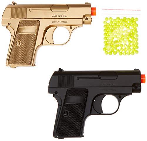 BBTac  1 BBTac Airsoft Spy Handgun - Twin Pack Pocket Pistol Gun with Storage Case (Gold & Black)