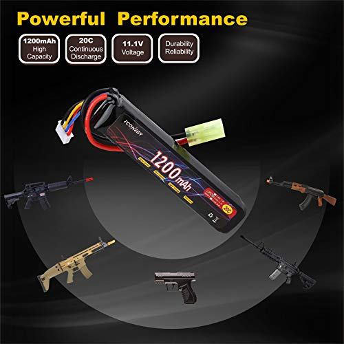 FCONEGY Airsoft Battery 5 FCONEGY 2S/3S 7.4V/11.1V 1200mAh 20C Lipo Battery Pack with Small Tamiya Plug for Airsoft Gun/Rifle