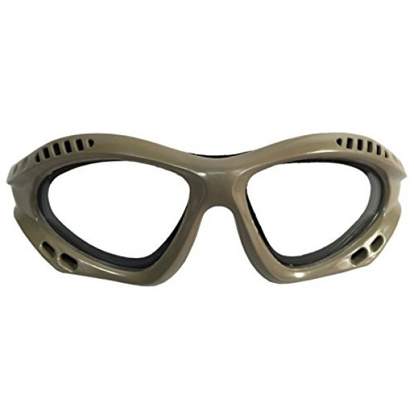 A&N Airsoft Goggle 2 A&N Eyes Safety & Protection Airsoft Clear Glass Adjustable Goggles (TAN)