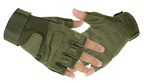 Eforcase Airsoft Glove 1 Eforcase Outdoor Sports Military Half-finger Fingerless Tactical Airsoft Hunting Riding Cycling Gloves Black Green Camel Available (Army Green