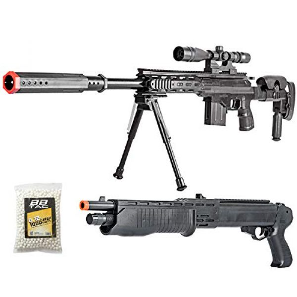 BBTac Airsoft Rifle 1 BBTac Airsoft Sniper Gun Package - Powerful Spring Sniper Rifle, Shotgun, 6mm BB Pellets, Great Starter Pack