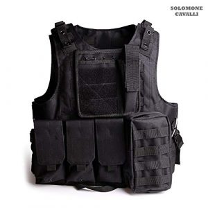 Solomone Cavalli Airsoft Tactical Vest 1 Solomone Cavalli Tactical Airsoft Vest Outdoor Ultra-Light Training Vest Adjustable for Adults 600D Black