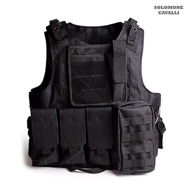 Solomone Cavalli Airsoft Tactical Vest 1 Solomone Cavalli Tactical Airsoft Vest Outdoor Ultra-Light Training Vest Adjustable for Adults 600D Black