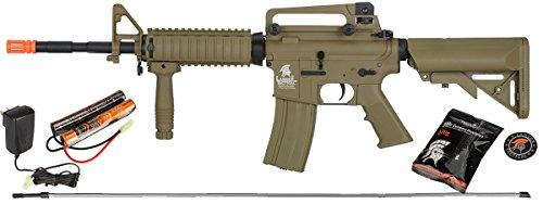 UKARMS  1 UKARMS Lancer Tactical M4A1 Airsoft Gun Rifle RIS SOPMOD AEG Metal Gears Raider w/ 9.6v Battery & Charger (Tan High Velocity)