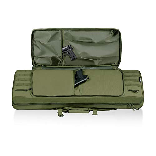 HUNTSEN Airsoft Gun Case 4 HUNTSEN Tactical Double Long Rifle Pistol Gun Bag Firearm Transportation Case Double Rifle Bag Outdoor Tactical Carbine Cases Water Dust Resistant Long Gun Case Bag