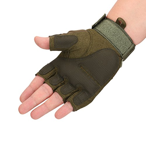 Huade Airsoft Glove 2 Tactical Military Rubber Hard Knuckle Outdoor Fingerless Gloves for Camping Cycling Motorcycle Hiking Powersports Airsoft Paintball