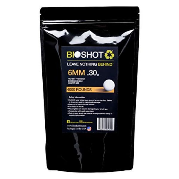 BioShot Airsoft BB 1 BioShot Biodegradable Airsoft BBS - .30g Super Slick Seamless Competition Match Grade for All 6mm Airsoft Guns and Accessories (4000 Rounds, White)