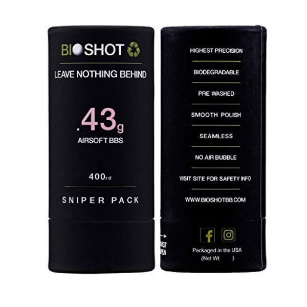 BioShot Airsoft BB 6 BioShot Biodegradable Airsoft BBS - .43g Super Slick Seamless Sniper Weight Competition Match Grade for All 6mm Airsoft Guns and Accessories (400 Round Sniper Pack, White)