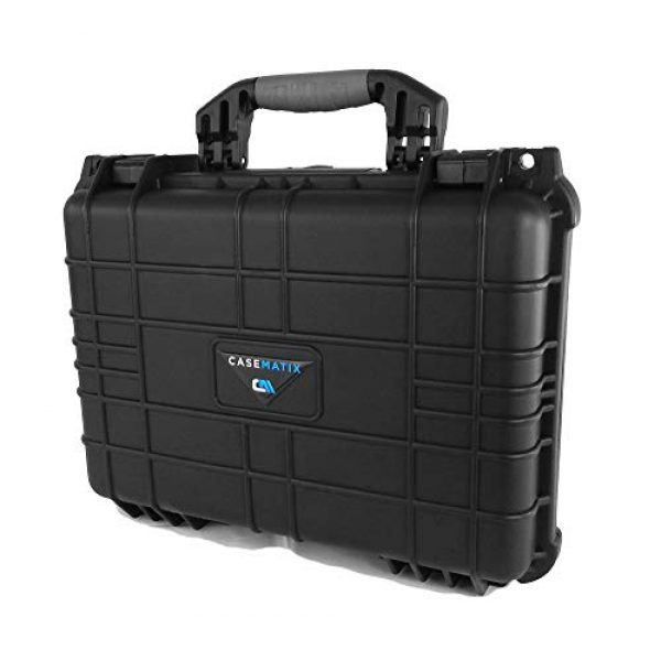 """CASEMATIX Airsoft Gun Case 2 CASEMATIX 16"""" 4 Pistol Multiple Pistol Case - Waterproof & Shockproof Hard Gun Cases for Pistols, Magazines and Accessories - Multi Gun Case for Pistols with Two Layers of 2"""" Thick Customizable Foam"""