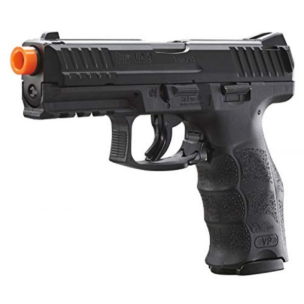 Umarex Airsoft Pistol 2 Umarex H&K VP9 Co2 - BLK Airsoft Pistol with Included 5x12 Gram CO2 Tanks and Wearable4U Pack of 1000 6mm 0.20g BBS Bundle