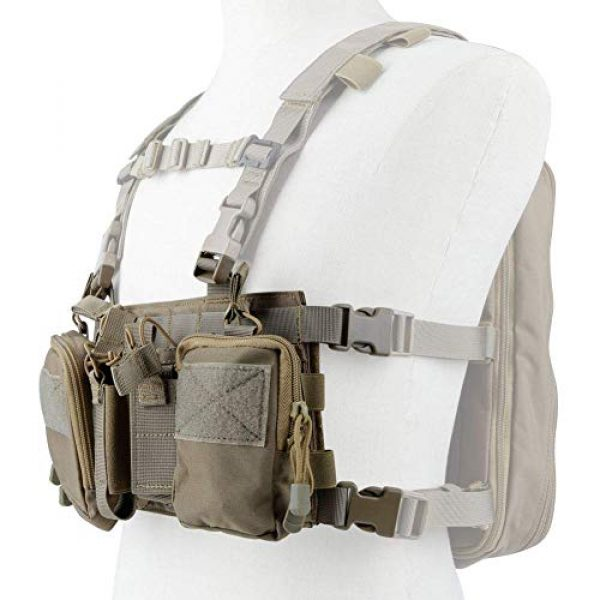 Hunting Explorer Airsoft Tactical Vest 5 Tactical Chest Vest Military Airsoft Vest with Multi-Pockets Molle Adjustable Breathable Combat Training Vest for Outdoor Hunting, Fishing, Army Fans, CS War Game, Survival Game, Combat Training